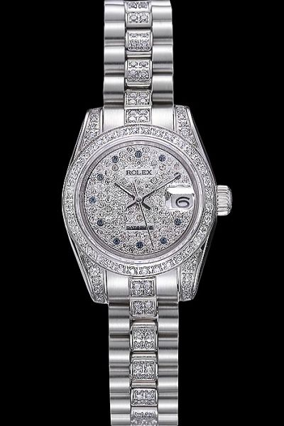 Swiss Rolex Datejust Pearlmaster Studded With Diamonds Case/Dial 11 Diamonds Hour Markers Diamonds Bracelet Lady Watch