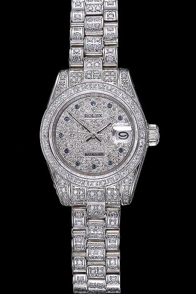 Rolex Datejust Swiss Sapphire Marker White Gold Case/Bracelet Ladies Full Diamonds 34mm Date Watch USA