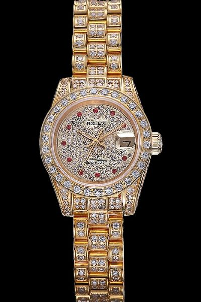 Lady Rolex Datejust Full-set Rhinestone All Yellow Gold Red Diamond Hour Marker Watch