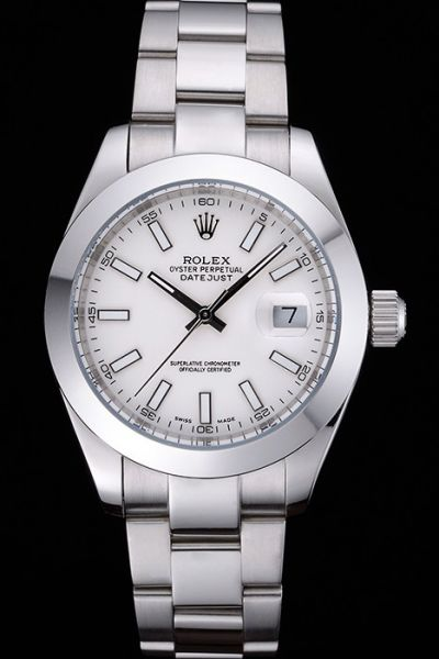 Rolex Datejust Oyster Perpetual Stick Marker Convex Lens Date Window Unisex White Dial SS Watch Replica Ref.116200-72600