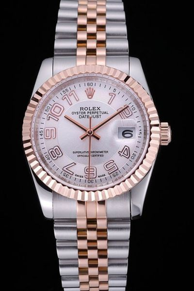 Rolex Datejust Oyster Perpetual Arabic Marker White Dial Rose Gold Fluted Bezel Unisex 2-Tone Bracelet Watch