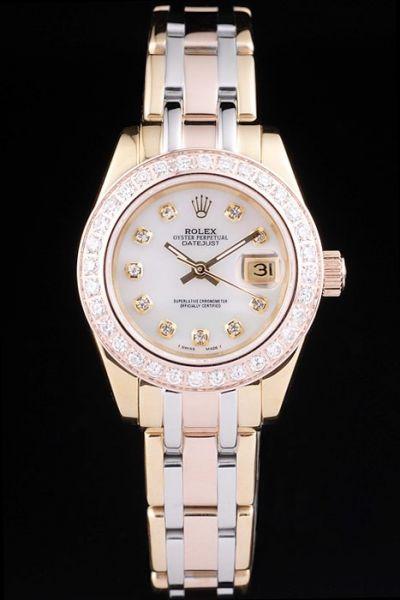 Rolex Datejust Pearlmaster 29mm Diamond Markers Pearl Face Tri-tone Steel Bracelet Lady Watch