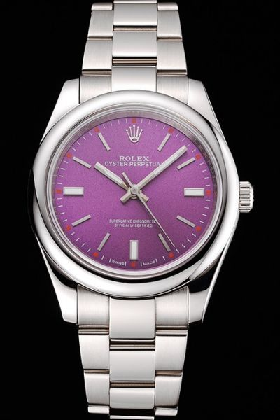 New Rolex Oyster Perpetual Silvery Smooth Bezel Purple Dial Stick Index Steel Bracelet Unisex Watch