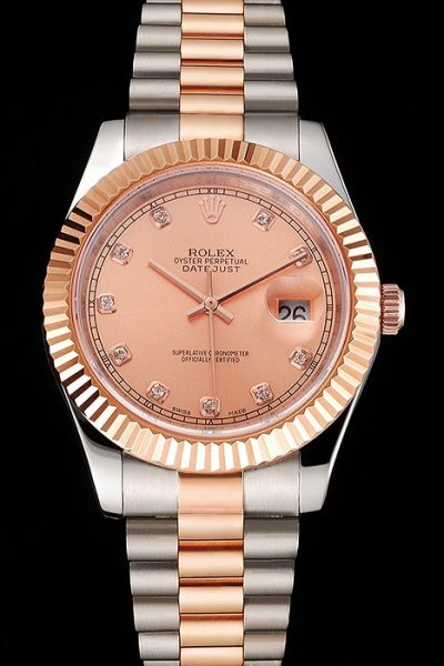 Cheap Rolex 2-Tone Bracelet Diamonds Scales Fashion Rose Gold Face Swiss Watch For Females & Males Ref.116231
