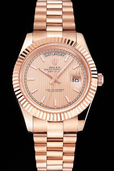 Rolex Day-date Baton Marker Fluted Bezel Striped Dial Week/Date Window Ladies All Rose Gold Swiss Watch Replica Ref.218235-83215