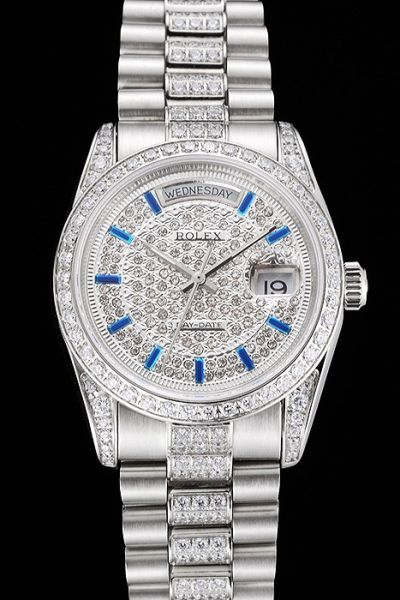 New Style Rolex Day-date Sapphire Stick Scale Week Display Window Ladies Paved Diamonds SS Date Watch UK