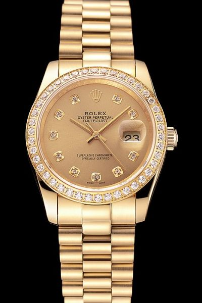 Luxury Rolex Datejust Diamonds Bezel/Scale Yellow Gold Plated Case/Dial/Bracelet Women Watch Outlet Sale Ref.69138