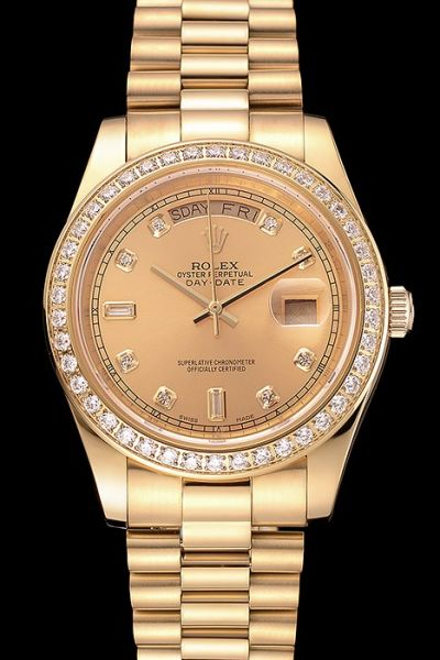Rolex Day-date Celebrity-Style 18k Gold Plated Diamonds Bezel&index Swiss Unisex Watch