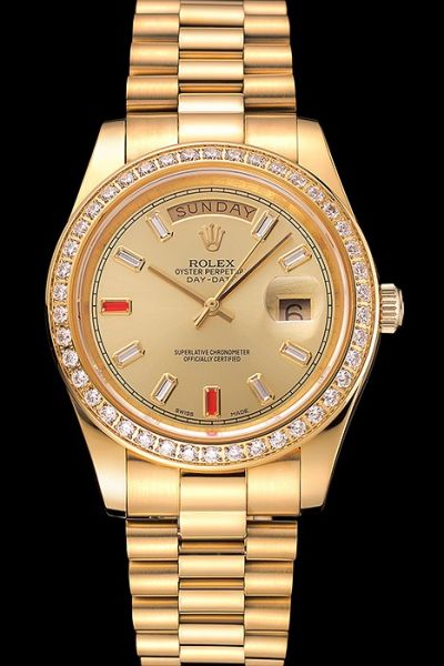 Rolex Day-date Diamonds Bezel Gems/Rubies Hour Marker Gold Stick Pointer Week/Date Display All Gold Design 36mm SS Watch Ref.228348RBR