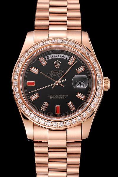 Rolex Day-date Rose Gold  Bracelet  SS Qualitu Ruby-ish Scale Slender Pointers Swiss Watch