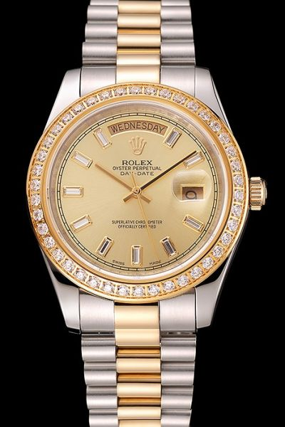 Swiss Couple's Rolex Day-date Gold Face Rhinestone-pave Bezel  Knock-off Dual-tone Steel Bracelet Watch Ref.228398TBR