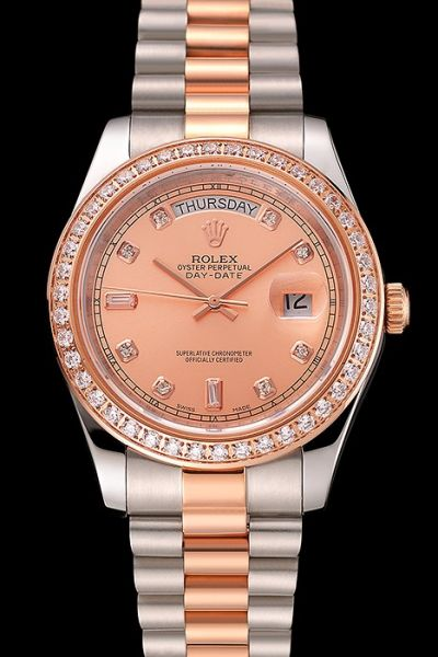 Swiss Rolex Day-date Diamonds Bezel & Scale Two-tone Bracelet Rose Gold Dial Ladies Week Window Watch