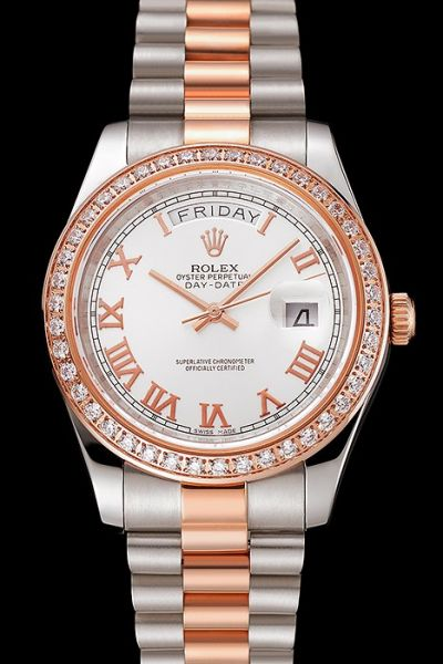 2019 Popular Rolex Day-date Two-tone Bracelet Roman Marker Week Window Rose Gold Diamonds Bezel Ladies Watch Ref.118235
