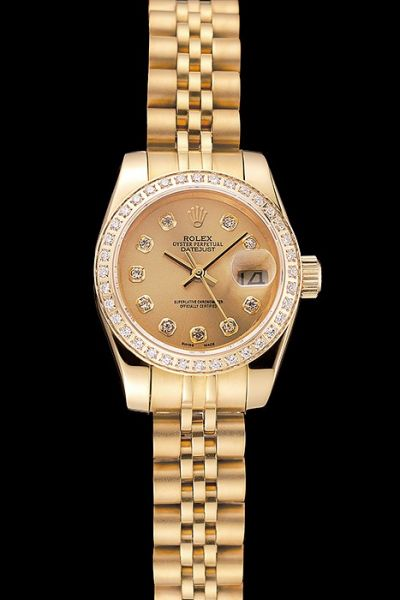 Luxury Swiss Rolex Knock-off Datejust Diamonds Bezel Yellow Gold Plated Case/Bracelet Lady Watch Hot Selling