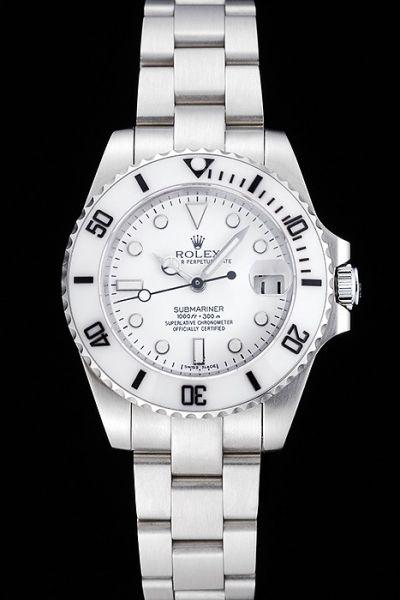 2018 Rolex Submariner White Pure Dial Ceramic Fluted Bezel Silver Swiss 316L Steel Bracelet & Case Timepiece Low Price