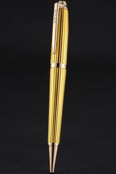 Rolex Luxury Yellow Gold Body With Rose Gold Rimmed Ballpoint Pen Rotary Style For Men