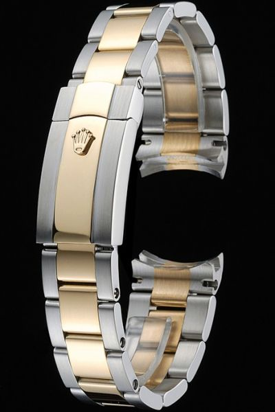 Rolex Plated Yellow Gold And Silver Two-tone Watches Bracelet With Fold Over Clasp
