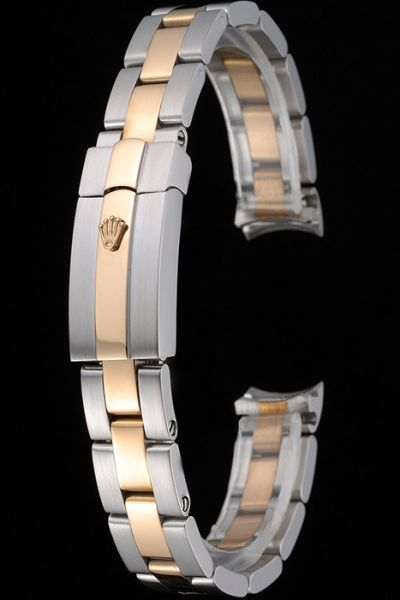 AAA Quality Rolex Plated Rose Gold And Stainless Steel Link Bracelet For Shop