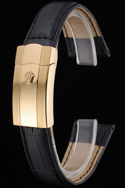 Fashion Rolex Black Leather Strap And Yellow Gold Fold Over Clasp Watches Bracelet Hot Selling