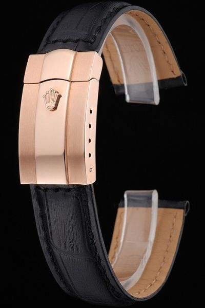 Vogue Rolex Black Leather Strap And Rose Gold Safety Fold Over Clasp Watches Bracelet