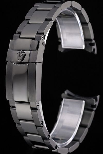 Luxurious Knock-off Rolex Stainless Steel Black Watches Bracelet With Fold Over Clasp