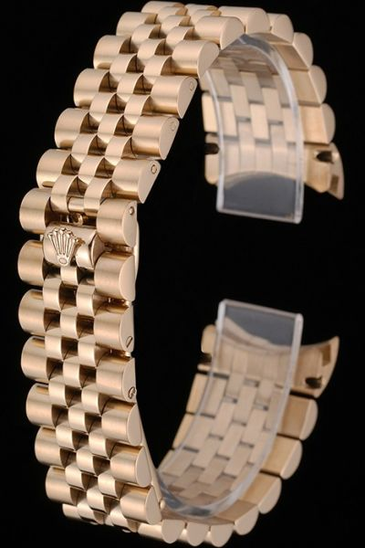 Rolex Rose Gold Plated Stainless Steel Watches Bracelet With Hide Clasp Quality Replica