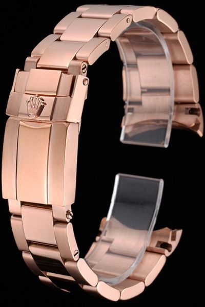 Fashion Rolex Rose-gold Watches Bracelet With Fold Over Clasp Quality Replica