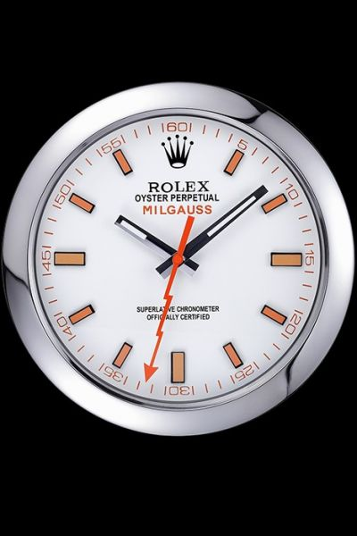 Rolex Milgauss Oyster Silver Bezel Wall Clock White Dial With Orange Markers Good Price