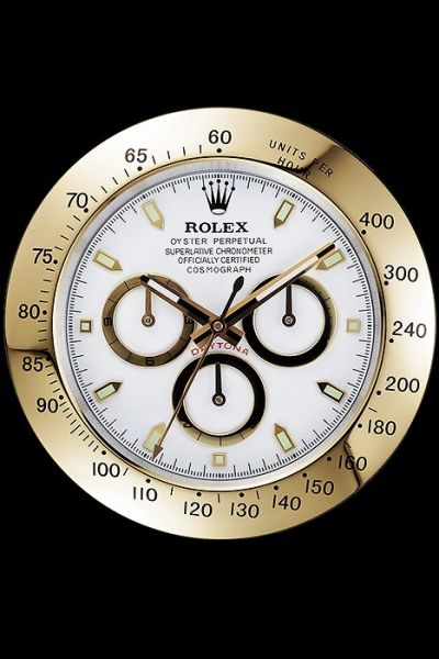 AAA Quality Rolex Daytona Wall Clock With White Dial Gold Bezel Replica Free Delivery