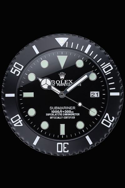 Rolex Round Shape Submariner Quartz Movement Black Wall Clock Online Sale