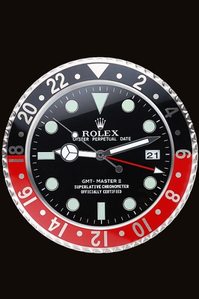 Round Rolex GMT Master II Black And Red Ceramic Bezel Wall Clock High Quality For Sale