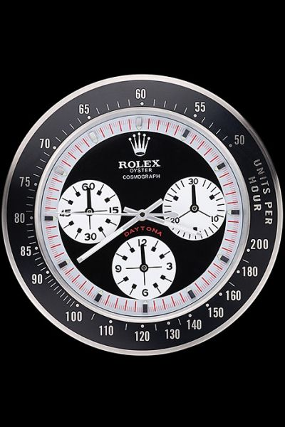 Best Value Imitated Rolex Round Daytona Black-Silver Face Wall Clock For Sale