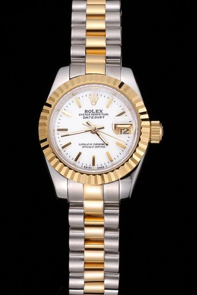 Rolex Datejust Oyster Perpetual Two-tone Bracelet White Dial Baton Scale Womens Yellow Gold Date Watch