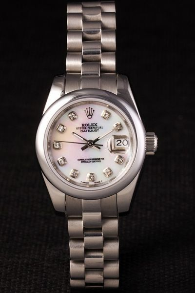 Office Ladies Rolex Datejust Smooth Bezel Pearl Dial Rhinestone Hour Marker 26mm Silvery SS Watch