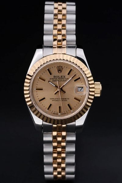 Ladies Rolex Knock-off  Datejust Gold Plated Fluted Bezel Stick Hour Scale Two-tone Bracelet Watch