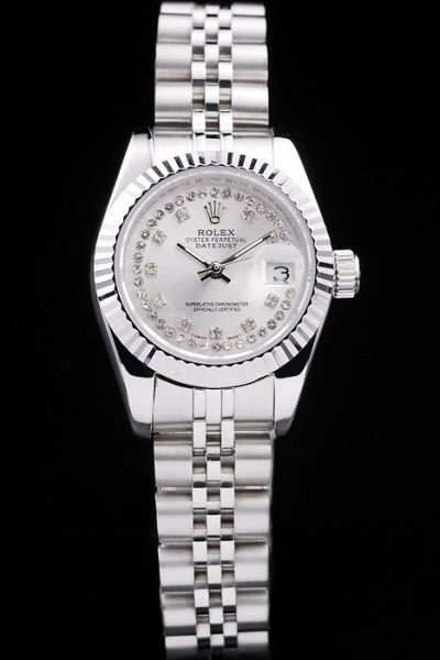 Copy Rolex Datejust Silvery steel wristband Diamonds index Automatic Watch for Her