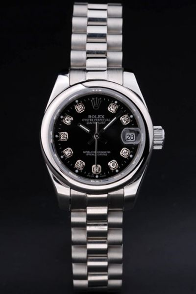 Classic Rolex Datejust Silver Case Black Dial Diamonds Scale Stainless Steel SS Bracelet Watch For Sale