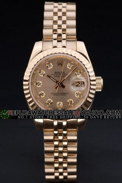 Luxurious Rolex Datejust Gold Plated Fluted Bezel/Dial/Bracelet Diamonds Scale 18K SS Women Watch
