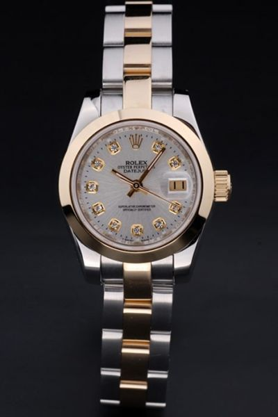 Rolex Ladies Datejust Yellow Gold Bezel Diamond Index Automatic Movement Knock-off Watch