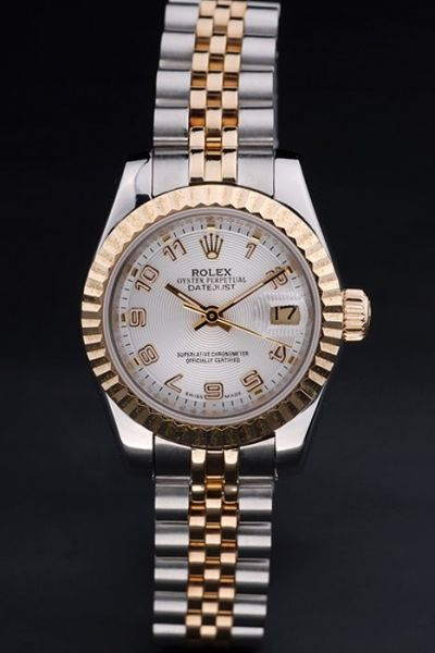 Female Rolex Datejust Yellow Gold Bezel Arabic Numeral Index Concentric Pattern Dial 2-Tone Bracelet Watch