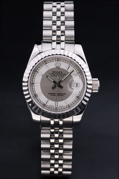 Rolex Datejust Silver Fluted Bezel Two-tone Dial Stick/Track Scale Stainless Steel Jubilee Bracelet Female Watch
