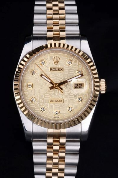 Rep Rolex Datejust Gold  Pattern Face Diamond Index Bold Hands Two-tone Bracelet Anniversary Watch