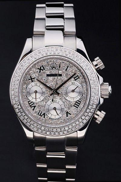 Rolex Daytona Full-set Diamonds Face & Bezel Roman Marker Females Stainless Steel 40mm Chronograph Wedding Watch