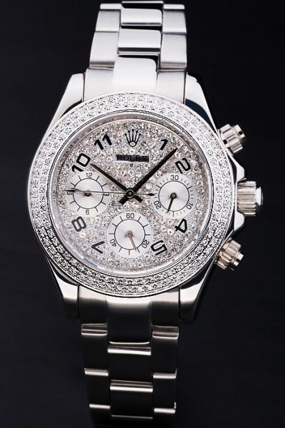 Womens Popular Rolex Daytona SS Case/Bracelet Arabic Scale Silver Sub-dialDiamonds Chronograph Watch