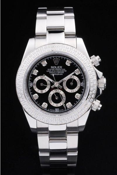 Fashion Rolex Daytona All Stainless Steel Black Face Diamonds Marker & Bezel Automatic Females Chronograph Watch