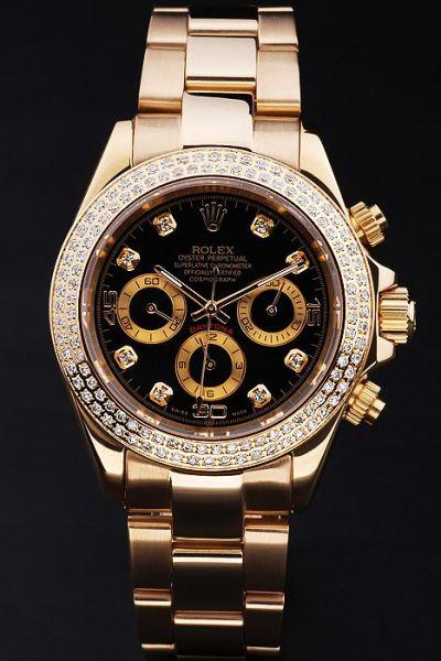 2019 Womens Rolex Daytona Black Dial Three Sub-dial Diamonds Scale/Bezel All Yellow Gold Fake Chronograph Watch