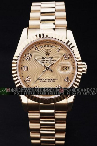 Rolex Day-date Gold Fluted Bezel Concentric Pattern SS Bracelet Watch Celebrity Fashion