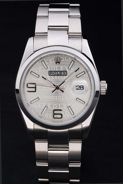 Classic Rolex Oyster Perpetual SS Bracelet/Case Grey Logo Pattern Baton & Arabic Marker Date Watch For Womens