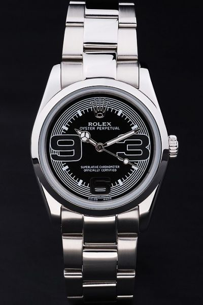 Best Rolex Oyster Perpetual SS Case/Bracelet Black Concentric Pattern Dial Womens Large Arabic Automatic Watch