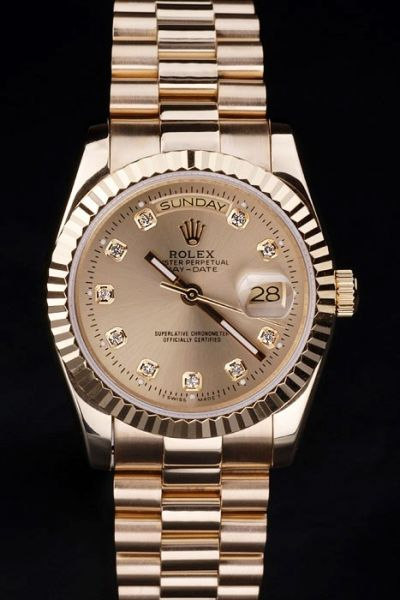 Copy Rolex Day-date Gold 36mm Case Diamonds Index 2-Tone Hands Cheap Couples Watch